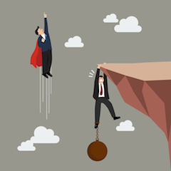 Businessman superhero fly pass businessman hold on the cliff with burden. Business concept